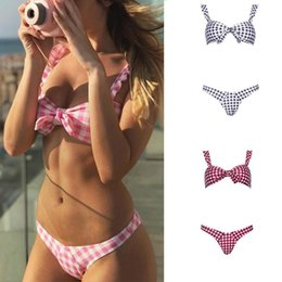 Sexy Suit Bowknot Australia - Bikinis Sexy Women Swimsuit Plaid Printed Bikini Set Push Up Bowknot Beach Wear Low Waist Swimwear Bathing Suit Biquini