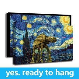 Art Canvas Prints Australia - Framed Wall Art Modern Van Gogh Starry Sky Fighting Machine Houses Wall Poster Print Art Home Decor - Ready To Hang - Framed