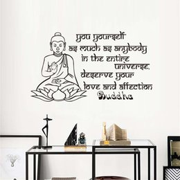 decor sayings NZ - 1 Pcs Lotus Buddha Wall Sticker Saying Yourself As Much As Anybody Home Decor Buddhas Famous Aphorism Text Wall Decal Buddhism