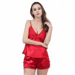 Herislim Women s Pajamas Silk Sleeveless Sexy Lace Pajama Set Cami And  Shorts 2Pcs Pijama Sleepwear Summer Large Size Pyjamas 0fd5c0bbb
