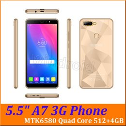 $enCountryForm.capitalKeyWord Australia - A7 5.5 Inch MTK6580 Quad Core Smart Phone Android 6.0 512 4GB 3G WCDMA Unlocked Dual SIM Camera 5MP 960*480 Gesture wake Mobile Cheapest