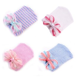 cotton baby girl bonnets NZ - baby hair bows hats newborn crochet beanie hat toddler knit hair accessories infant boys girls bonnet winter cotton photography caps 4 color