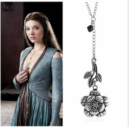 Discount wholesale game thrones gifts - Game Rose Flower Necklace Margaery Tyrell Pendant Thrones Gift Jewelry for Women Game of Thrones necklace
