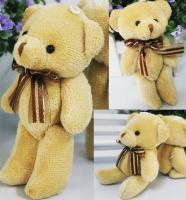 Cloth Bouquet Australia - Pudcoco 12cm Cute Soft Plush Stuffed Mini Ribbon Teddy Bear Stuffed Animals Plush Toys Doll for Bouquet Christmas Gift for Kids