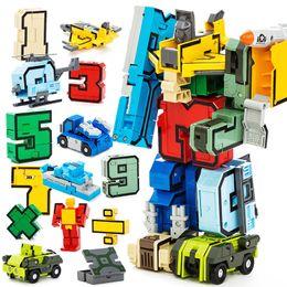 Number Blocks Australia - Robot Model Bricks Transformation 10 Digit Number Mathematical Symbol Fighter Warship Figures Building Blocks Sets Education Toy