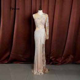 T Shirts Style Australia - Finove Mermaid Dresses 2019 Evening Dress New Style O-neck Full Beading Sexy Side Split Floor Length Women Dress Party Prom Gown 15047 17070