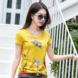 sexy 3d painting Australia - Top Selling Luxury Design Sequined T-Shirt Women's Oil Painting Style Channel Tops Office Lady Sexy Slim Business 3D Graphic Tops Tees