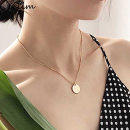 $enCountryForm.capitalKeyWord Australia - Blank Round Circle Pendant Necklace Stainless Steel Necklace Gold Minimalist Round Blank Dog Tag Coin Pendant Necklace Jewelry For Buyer Own