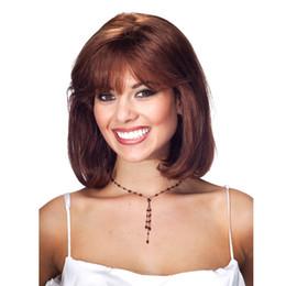 Women Medium Hair Australia - 2019 best selling women medium brown short curly wigs 12 inch 100% synthetic hair elastic wig cap with hair net free shipping