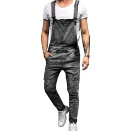 $enCountryForm.capitalKeyWord UK - Fashion Strap Ripped Jeans Jumpsuit Men Solid Straight Slim Streetwear Hole Denim Overalls Casual Pocket Summer Jeans Homme