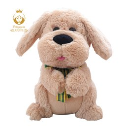 moving dolls toys UK - 1pcs 28cm Electrical Dog Plush Stuffed Animals Singing Baby Music Toys Ears Flaping Move Interactive Doll Kids Gifts Y19062704