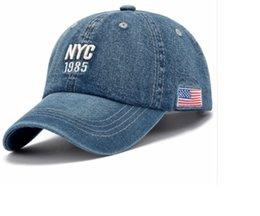 6ebff635041 Denim Solid Blue Jeans NEW YORK City 1985 American Flag Baseball Hat Cap  Cowboy Dad Hat Curved Ball Cap USA Distressed Vintage