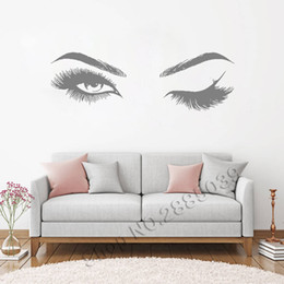 eyebrow stickers Australia - Beautiful Eyes Eyelashes Wall Stickers Makeup Girls Eyes Eyebrows Wall Decor Beauty Salon Style Home Decoration Livingroom