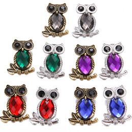 $enCountryForm.capitalKeyWord Australia - Mix 6pcs lot New Owl Crystal Metal snap Button 18mm 6pcs lot Fit Female Necklace Bracelet Accessories Factory Direct