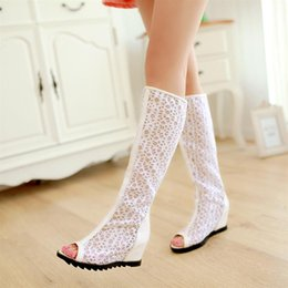 Discount cutout summer boots - 2015 summer boots female shoes boots cutout mesh high heel wedges lace spring and autumn white