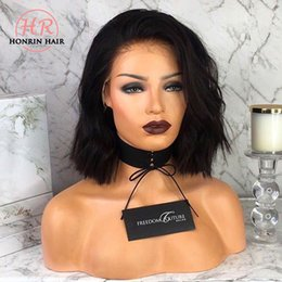 Brown Wavy Lace Wigs Australia - Human Hair Short Bob Wavy 360 Lace Wig Natural Wave Pre Plucked 150% Density Brazilian Virgin Hair With Baby Hair Full Lace Wig