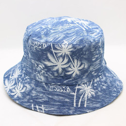 a772e9e1 Two Sides Bucket Hat Basin Cap Coconut Tree Printing Men And Women Summer  Beach Sunshade Ethnic Style Cool 13 3ad F1
