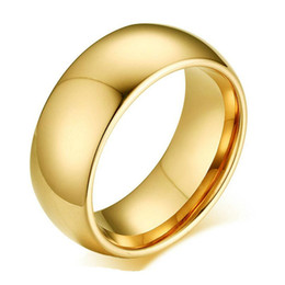 Chinese  8 mm 2 Colors Gold Plated High Polish Band Finger Ring 316L Stainless Steel Couple Wedding Engagement Rings for Men Valentine Gift manufacturers