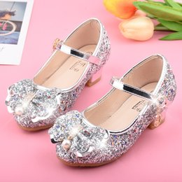 purple princess bedding NZ - Children Princess Shoes Silver High Heels GIRL'S Piano Performance Crystal Shoes Versitile Fashion Sequin GIRL'S Shoes