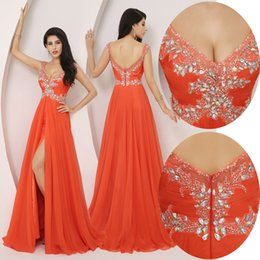 robe cocktail crystals sexy NZ - Orange Sparkly Big Crystals Beading Sequins Cheap Sexy Long Pageant Prom Dress Side Split Zipper Backless Evening Gowns Cocktail Party Robes