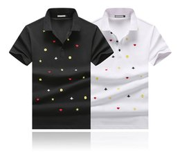 mens high collar t shirt NZ - Fashion designer polos men Casual t shirt love heart stars Little bee printing Cotton polo Shirt High street collar mens Polos shirts