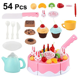 $enCountryForm.capitalKeyWord Australia - 54pcs 1 set Cake Toy Beautiful Creative Funny Birthday Cake Pretend Play Cutting Toys Kitchen Gift for Girl Child Baby