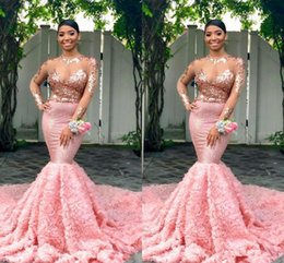Black Gold Dresses Evening Wear Australia - Pink Long Sleeves Black Girls Prom Dresses 2019 Mermaid Formal Pageant Holidays Wear Graduation Evening Party Gown Custom Made Plus Size