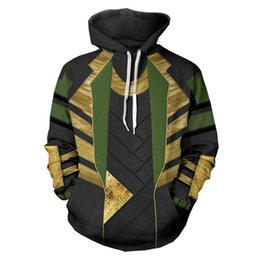 loki cosplay 2019 - Thor Loki Cosplay Hoodie Adult Men's Winter Autumn Jacket Coat Hoodie 3D Printed Sweatshirt Green Loki cheap loki c