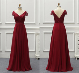 $enCountryForm.capitalKeyWord NZ - Vintage Wine Red V neck Cheap bridesmaids dresses 2019 Long With Short Sleeves Lace Empire Pleated Real Photo Wedding Guest Party Dress