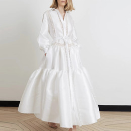 long casual dress train Australia - Vintage White Long Sleeve Women Casual Party Dress Patchwork Lapel Neck Lace Buttons With Pockets Women Work Dress Formal Wear 2764