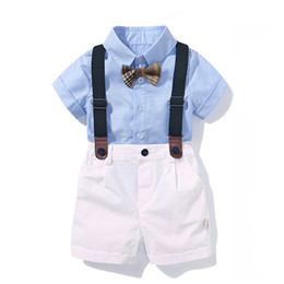 $enCountryForm.capitalKeyWord Australia - Clothing For Boys Baby Bow Set Birthday Formal Suit Summer Newborn Baby Clothes Set Blue Shirt Top+suspender Pants Outfits J190513