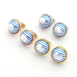 Pink statement jewelry online shopping - New fahsion Cc Earrings For Women Statement Ear Cuff Big Letter love Earrings Blue Striped Pearl earrings Jewelry