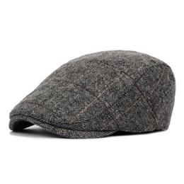 Chinese  England Style Mens Berets Wool Blend Ivy Cap Tweed Herringbone Newsboy Gatsby Flat Winter Warm Hat manufacturers