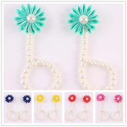 $enCountryForm.capitalKeyWord NZ - New Arrival kids flower sandals baby barefoot sandals Simulated Pearl foot flower Newborn Baby Girls Foot Band girl anklet
