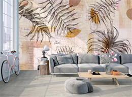 yarn painting UK - Nordic minimalist fashion hand-painted leaves texture art mural decoration background wall 3d wallpaper