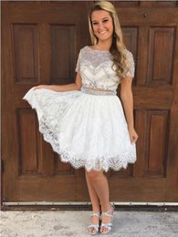 White Crystal Short Party Dresses Australia - White Two Pieces Short 2019 Homecoming Prom Dresses Bling Crystal Rhinestones Lace With Sleeves Scoop Neck Hollow Back Sequins party Dress