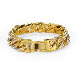 $enCountryForm.capitalKeyWord NZ - Fashion Men's Stainless Steel Cuban Bracelet Full Rhinestone Design Double Safety Clasps Rock Hip Hop Jewelry Gold Chain Bracelets For Men