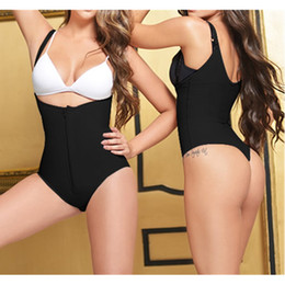 sexy open crotch cotton Australia - Ladies Sexy Thong Body Shaper Wear Open Crotch Underbust Bodysuit Black Zipper Underwear Fajas Reductoras Slimming Waist Trainer
