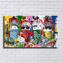 beatles painting NZ - Mr. Brainwash,Bandidos,Beatles Banks Street,1 Pieces Canvas Prints Wall Art Oil Painting Home Decor (Unframed Framed) 20X36