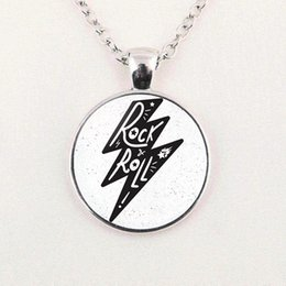 Silver Rolled Chain NZ - 2019 new fashion necklace Rock and Roll Art Photo Pendant Necklace Glass Dome Chain Jewelry Gift