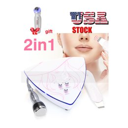 Ultrasound Gifts Australia - USA Stock 2 in 1 facial treatment salon ultrasonic skin scrubber 3MHz face cleaning + gift ultrasound photon massager