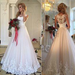 $enCountryForm.capitalKeyWord Australia - Vintage Full Lace Sheath Over skirts Wedding Dresses Arabic Sheer Illusion Appliques Sheer Jewel Neck Short Bridal Gowns