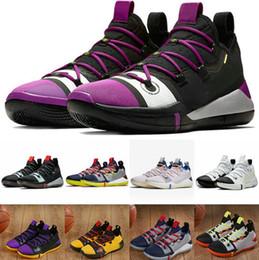 brand new 3c691 1e954 Venta barata kobe ad Low Basketball Shoes Sports para Hombres de calidad  superior KB ad Black Toe amarillo púrpura Zapatillas de entrenamiento  Tamaño 7-12