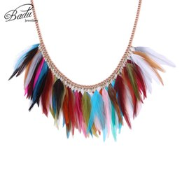$enCountryForm.capitalKeyWord UK - Badu Short Chain Necklace for Party Women Colorful Rooster Feather Collar Choker Rose Gold Chain Necklaces Halloween Wholesale