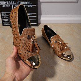 Crystal Stud Metal Australia - Shiny Metal Round Toe Men Dress Shoes Rivet Crystal Studs Metal Fringe Tassel Slip On Men Loafers Flats Party Shoes