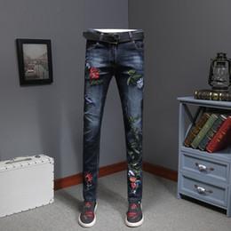 Wholesale flowered skinny jeans resale online - Vaqueros Skinny Men s Flower Embroidery Jeans Fashion Slim Distressed Denim Pants Erkek Jean Pantolon Moda Hombre