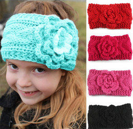 $enCountryForm.capitalKeyWord NZ - Children Girls Winter knitting Crochet Headbands Baby European Style Bandanas Flowers Braided Headscarf kids Beanies Cap B11