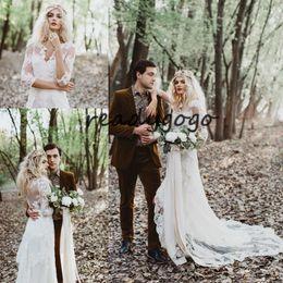 $enCountryForm.capitalKeyWord Australia - Vintage Bohemian Wedding Dresses with Long Sleeve 2019 V-neck Lace Applique Full Back Country Garden Wedding Gown Cheap