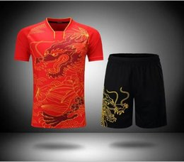 Wholesale china shirt black online – design China Dragon table tennis Sets Ma long T shirt Men women Badminton suit Ping Pong Clothes Badminton Jerseys tennis shirt
