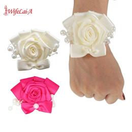 $enCountryForm.capitalKeyWord Australia - WifeLai-A Pearl Bouquet Corsages Satin Hand Wrist Flower Bridesmaid Ivory Rose Accessories For Wedding Bride And Groom